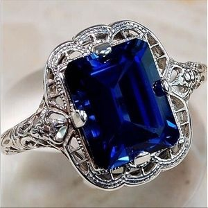 Vintage Style Silver Sapphire Statement Ring